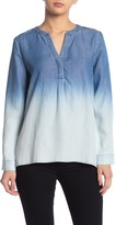 Amour Vert Current Air Ombre Washed Split Neck Top
