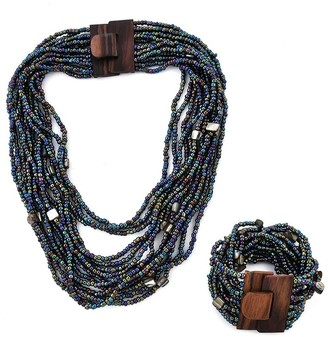 Shop Lc Seed Bead Wooden Buckle Stretch Bracelet Necklace Set 18 inch - Size 18''