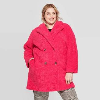Who What Wear Women's Plus Size Long Sleeve Double Breasted Faux Fur Jacket - Who What WearTM Pink