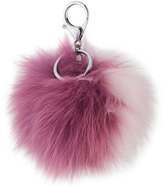 Adrienne Landau Two-Tone Fox Fur Pompom/Charm for Handbag, Purple/Pink