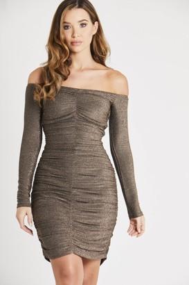 Skirt & Stiletto Off Shoulder Ruched Sequin Dress