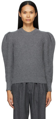 Isabel Marant Grey Wool and Cashmere Robin Puff Sleeve Sweater