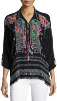 Johnny Was Indie Feather-Embroidered Blouse, Petite