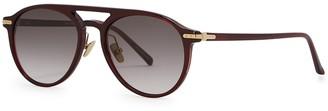 Linda Farrow Luxe 23A C9 Burgundy Oval-frame Sunglasses