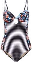 Tart Collections Paneled Cutout Printed Swimsuit