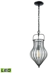Elk Lighting Adriano 1 Light Pendant in Gloss Black with Clear Blown Glass
