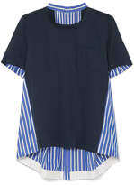 Sacai Striped Cotton-poplin And Cotton-jersey Top - Navy