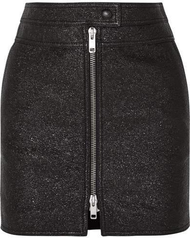 Givenchy Metallic Textured-leather Mini Skirt - Black