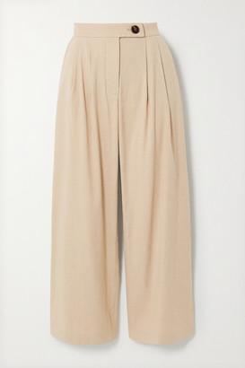 ANNA QUAN - Gigi Pleated Linen-blend Straight-leg Pants - Sand