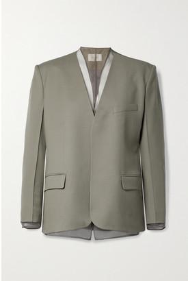 Low Classic Layered Wool And Organza Blazer - Gray green