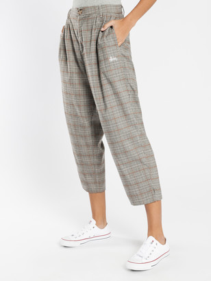 Stussy Leon Check Pants in Sand