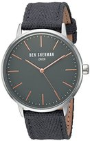 Ben Sherman Men's 'Portobello Social' Quartz Stainless Steel and Leather Watch, Color:Grey (Model: WB009EA)