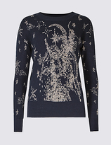 Limited Edition Cotton Blend Printed Round Neck Jumper