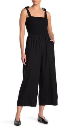Susina Tie Strap Smocked Linen Blend Crop Jumpsuit (Regular & Petite)
