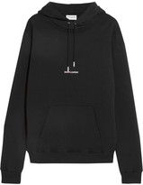 Saint Laurent Oversized Printed Cotton-jersey Hooded Top - Black