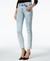 GUESS Lace-Up-Trim Skinny Jeans