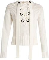 Joseph Lace-front cashmere sweater