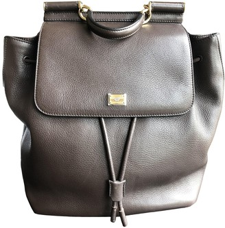 Dolce & Gabbana Sicily Brown Leather Backpacks