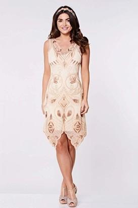 Linzi Gatsbylady London Emma Flapper Dress in Blush