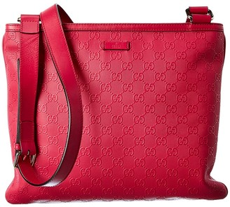 Gucci Pink Guccissima Leather Flat Messenger Bag