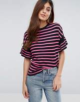 Warehouse Stripe T-Shirt With Flutter Sleeve