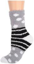 Karen Neuburger Dots Stripes Slipper Socks (Ice Grey) Women's Crew Cut Socks Shoes
