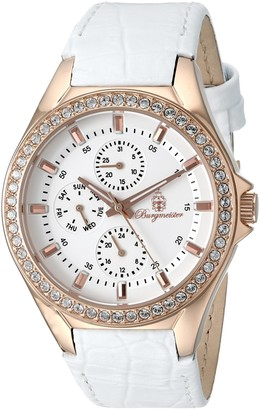 Burgmeister Women's Quartz Watch with White Dial Analogue Display and White Leather Bracelet BM529-316