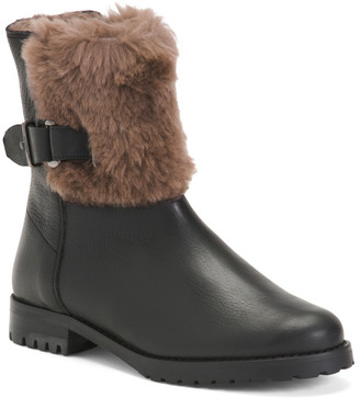 Made In Italy Faux Shearling Lined Leather Boots