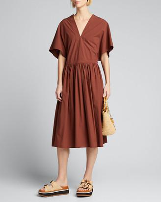 Deveaux Gloria Boxy Poplin V-Neck Dress