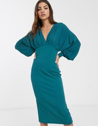 Asos Design DESIGN v neck woven mix pencil dress in green