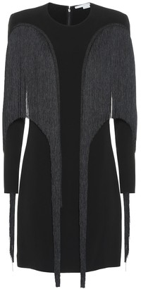 Stella McCartney Fringe-trimmed crepe minidress