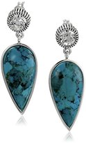 "Barse Hepburn"" Turquoise Set in Silver Plate with Clear Crystal Post Drop Earrings"