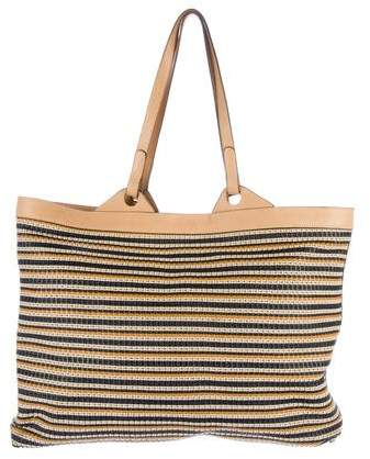 Delvaux Woven Leather-Trimmed Tote