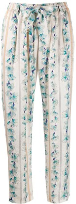 Forte Forte Tie Waist Cropped Floral Print Trousers