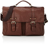 Barneys New York MEN'S MESSENGER BRIEFCASE-BROWN