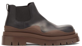 Bottega Veneta Tire Leather Chelsea Boots - Black Brown