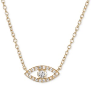 "Unwritten Cubic Zirconia Evil Eye 18"" Pendant Necklace in Gold-Flashed Sterling Silver"