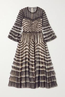 Needle & Thread La Vie En Rose Ruffled Embroidered Tulle Midi Dress - Black