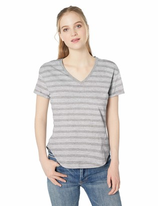 Daily Ritual Lightweight Lived-in Cotton Roll-sleeve V-neck T-shirt