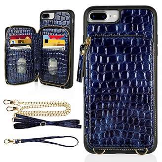 """LAMEEKU iPhone 8 Plus Wallet Case, iPhone 7 Plus Crocodile Skin Pattern Zipper Card Slot Case with Strap Crossbody Chain, Protective Phone Cover for iPhone 8 Plus/7 Plus 5.5""""-Blue"""