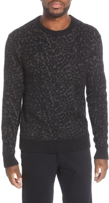 John Varvatos Boulder Leopard Jacquard Crewneck Sweater