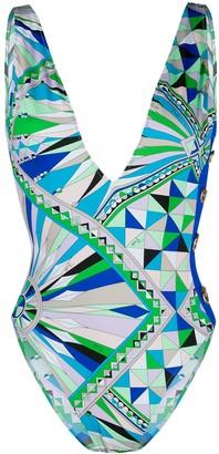 Emilio Pucci Bes geometric print swimsuit