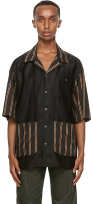 Nicholas Daley Black Striped Short Sleeve Shirt
