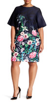 Eliza J Floral Print Scuba Shift Dress (Plus Size)