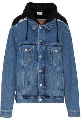 Vetements Hooded artisanal jean jacket