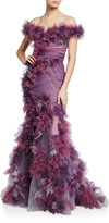 Marchesa Ombre Tulle Floral Gown