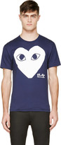 Comme des Garcons Navy and White Logo T-shirt