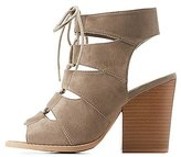Charlotte Russe Lace-Up Peep Toe Booties