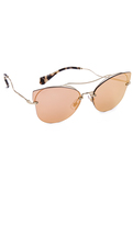 Miu Miu Brow Bar Mirrored Sunglasses