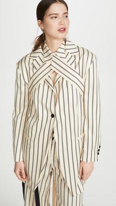 Unravel Project Stripes Wrap Blazer